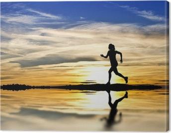 corriendo por la orilla del lago Canvas Print