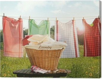 Cotton towels drying on the clothesline Canvas Print