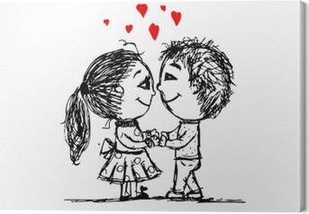 Couple in love together, valentine sketch for your design Canvas Print