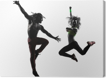 couple man and woman exercising fitness zumba dancing silhouette Canvas Print