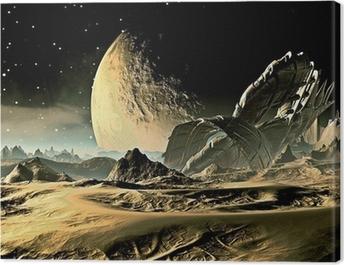 Crashed Alien Spaceship on Distant World Canvas Print