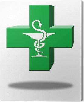 croix pharmacie 3D caducée Canvas Print