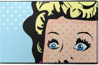 Poster Bijgesneden Vrouw Gezicht Popart Comic Banner Met Eyes Wide