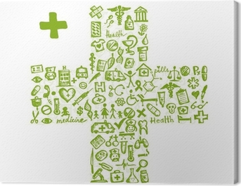 Cross shape with medical icons for your design Canvas Print