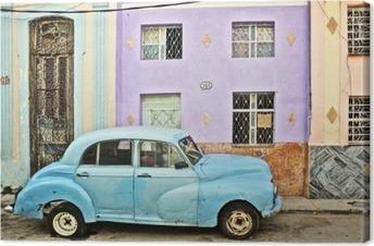 Cuba, La Habana, Broken Down Vintage Car Canvas Print