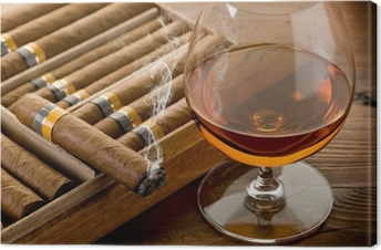 cuban cigar and cognac on wood background Canvas Print
