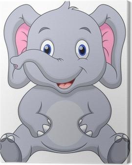 Cute baby elephant cartoon Canvas Print