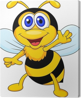 Cute bee cartoon waving Canvas Print