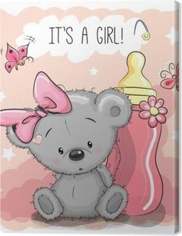 Cute Cartoon Bear girl Canvas Print