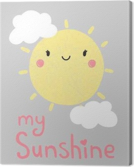 cute cartoon sun graphic, vector, illustration Canvas Print