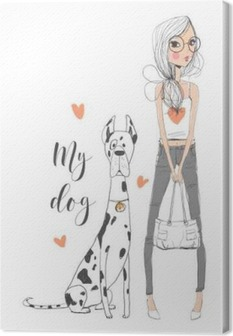 cute girl with dog Canvas Print