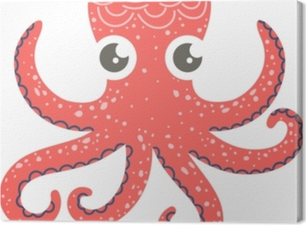Cute illustration of octopus for nursery decor, prints and posters, doodle style illustration. Vector Canvas Print