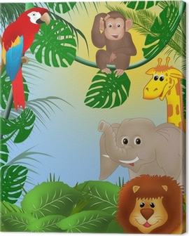 Cute jungle background Canvas Print