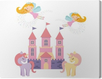 cute pink fantasy castle vector illustration design Canvas Print