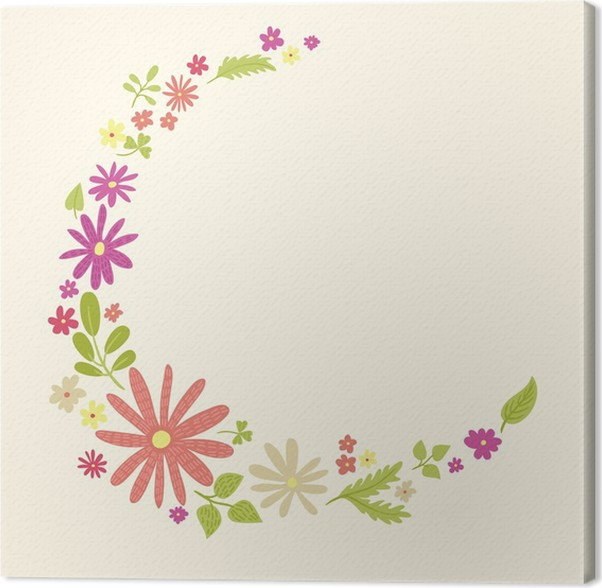 Cute small flowers frame template #2 Canvas Print • Pixers® • We ...