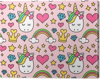Cute unicorn, princess concept, girl beauty seamless pattern isolated on pink background. Vector cartoon design. Magic, fairy tale, heart, rainbow, crown, stars, diamond Canvas Print
