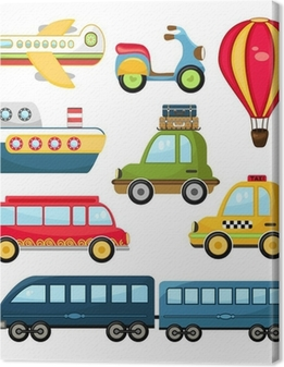 Cute Vector Transportation Canvas Print