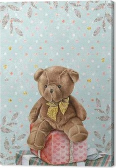 Cute Watercolor Teddy Bear with gift boxes Canvas Print