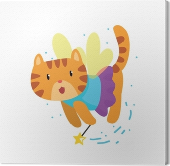 Cute winged red cat with a magic wand, fantasy fairy tale animal cartoon character vector Illustration Canvas Print