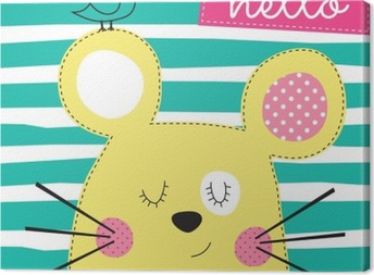 cute yellow mouse with bird vector illustration Canvas Print