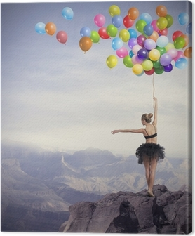 Dancer with balloons Canvas Print