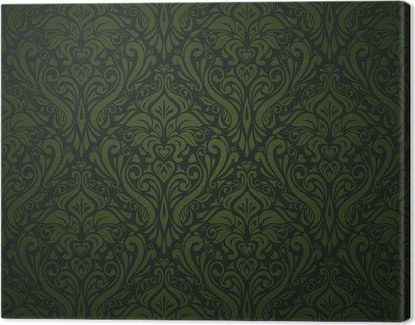 Dark Green Vintage Wallpaper Canvas Print