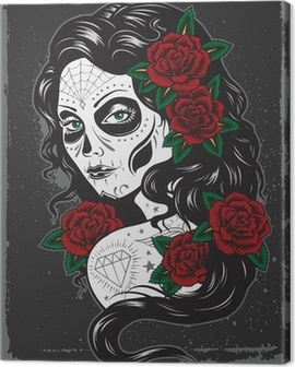 Day of dead girl tattoo illustration Canvas Print
