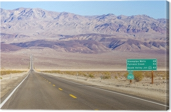 Death Valley landscape and road sign,California Canvas Print