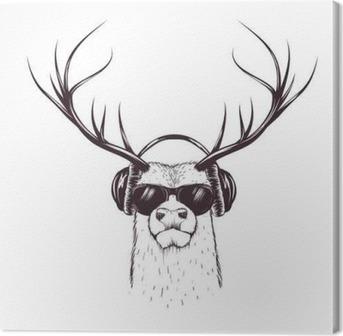 deer in music headphones Canvas Print