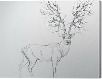 Deer with Antler like tree / Realistic sketch Canvas Print