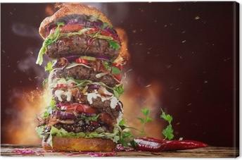 delicious big hamburger on wood Canvas Print