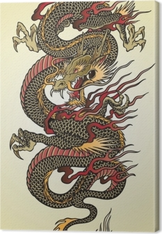 Detailed Asian Dragon Tattoo Illustration Canvas Print