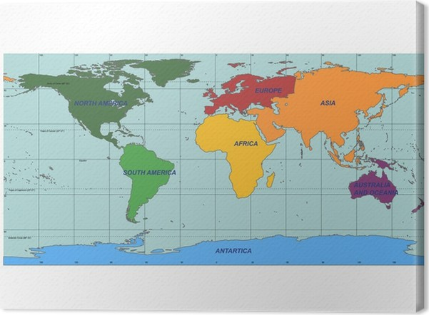 Detailed world map with names of continent and countries vector detailed world map with names of continent and countries vector canvas print gumiabroncs Images