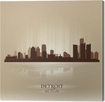 Detroit Michigan city skyline silhouette Canvas Print