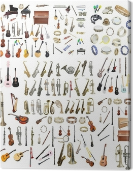 Different music instruments Canvas Print