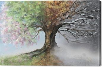 Digital illustration of four seasons tree Canvas Print