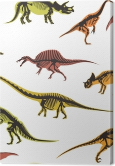 Dinosaurs and pterodactyl types of animals seamless pattern isolated on white background vector. Canvas Print