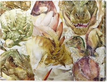 Dinosaurs seamless pattern. hand-drawn watercolor illustration Canvas Print