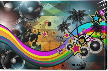 Disco club flyer template. Abstract background to use for music Canvas Print