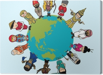 Diversity concept, people cartoons over planet earth with distin Canvas Print