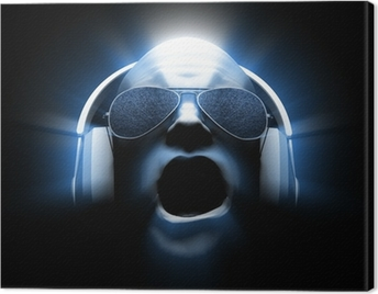 DJ with Headphones Canvas Print
