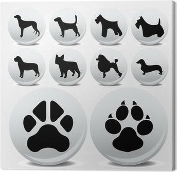 Dogs collection vector icons and footprints Canvas Print