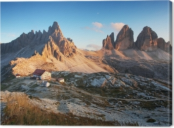 Dolomites mountain panorama in Italy at sunset - Tre Cime Canvas Print