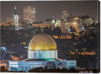 Dome of the Rock at night Canvas Print