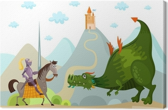 dragon and knight Canvas Print