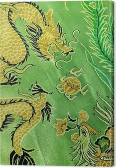 dragon and phoenix, chinese silk embroidery Canvas Print