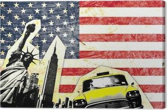 drapeau américain avec statue de la liberté taxi jaune Canvas Print
