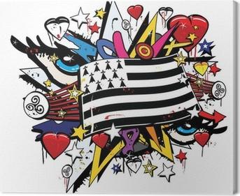 Drapeau Bretagne Breizh graffiti tag pop art illustration Canvas Print