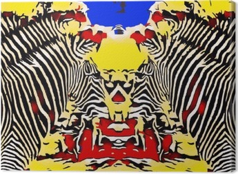 drawing and painting zebras with red yellow and blue background Canvas Print