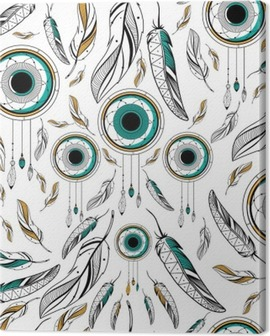 Dream Catcher in Tribal boho style seamless pattern Canvas Print